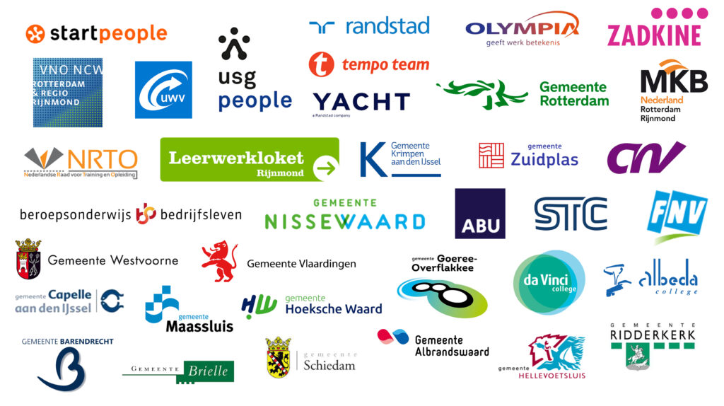 logo overzicht partners Rijnmond Werkt Door